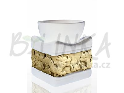 Aromalampa – Basreliéf Draci, bílá čtvercová