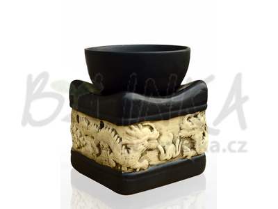 Aromalampa – Basreliéf Draci, černá čtvercová