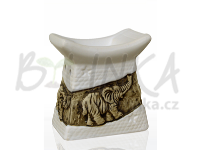 Aromalampa – Basreliéf Slon, bílá