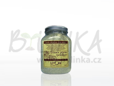 Mořská sůl do koupele Lux One – TONUS (limetka + pomeranč)  1300gMořská sůl do koupele Lux One – HARMONIE (růžové dřevo + grep)  1300g