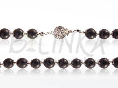 Šungitový náhrdelník 50×9 s květinkou