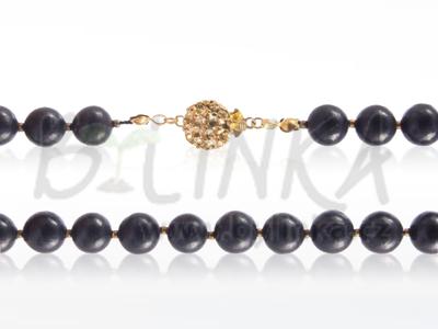 Šungitový náhrdelník 44×9 se zlatými kuličkami