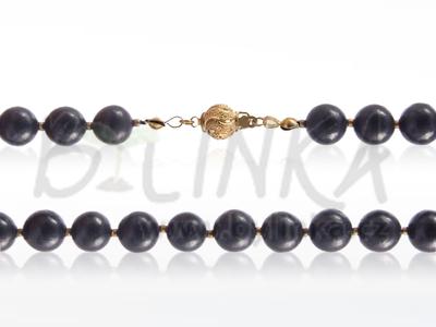 Šungitový náhrdelník 55×9 se zlatými kuličkami